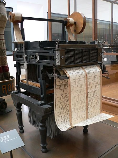 """<em>Jacquard Loom: a machine that separated hardware from """"software""""; a precursor of modern computers.</em>"""