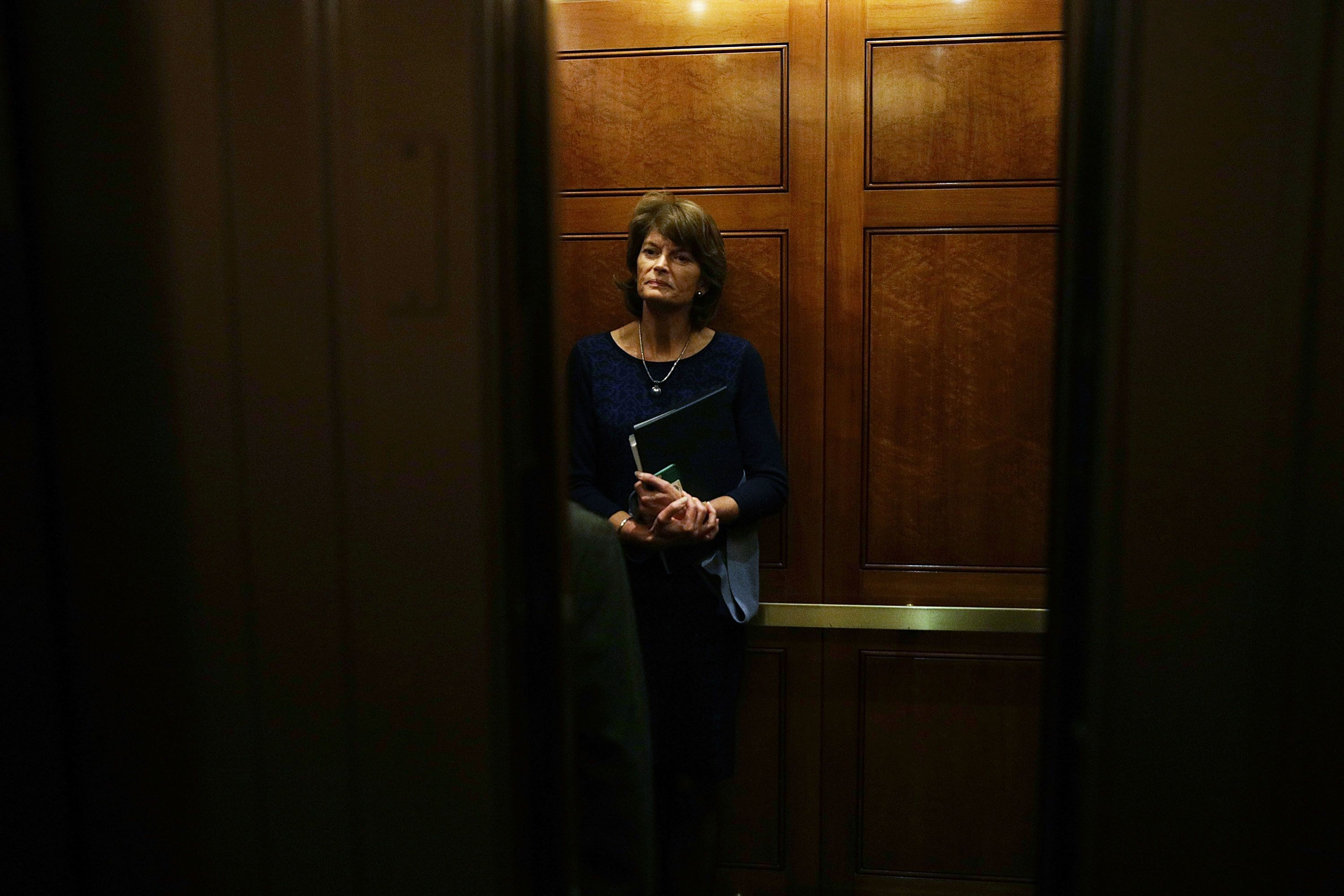 U.S. Sen. Lisa Murkowski (R-AK) leaves after a vote in an elevator at the Capitol February 1, 2017 in Washington, DC.