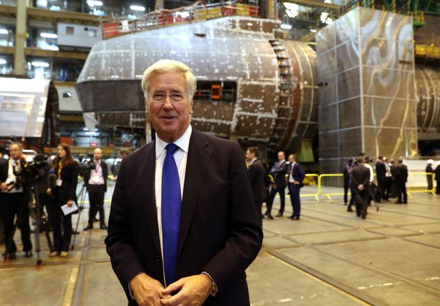 Defence Secretary Michael Fallon at a submarine factory in