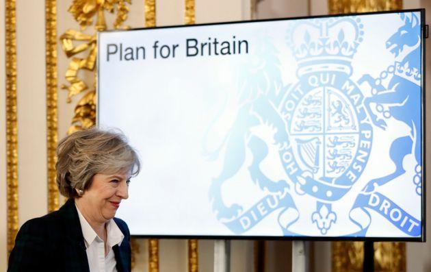 Theresa May at her 'Brexit plan'