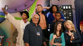 COMMUNITY -- 'Conventions of Space and Time' Episode 404 -- Pictured: (l-r) Danny Pudi as Abed, Chevy Chase as Pierce, Joel McHale as Jeff Winger, Yvette Nicole Brown as Shirley, Donald Glover as Troy, Alison Brie as Annie, Gillian Jacobs as Britta -- (Photo by: Vivian Zink/NBC/NBCU Photo Bank via Getty Images)