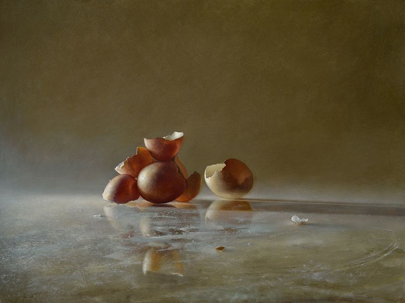 "Transitory Reflections: Eggshells | Oil on panel - 16"" x 18""  2013"