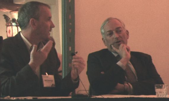 Author Mark Boslough attempts to explain the scientific method to denier Christopher Monckton at the 2011 Santa Fe conference