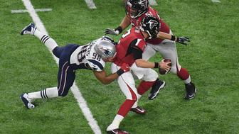 Feb 5, 2017; Houston, TX, USA; New England Patriots defensive end Trey Flowers (98) sacks Atlanta Falcons quarterback Matt Ryan (2) in the fourth quarter during Super Bowl LI at NRG Stadium. Mandatory Credit: Richard Mackson-USA TODAY Sports