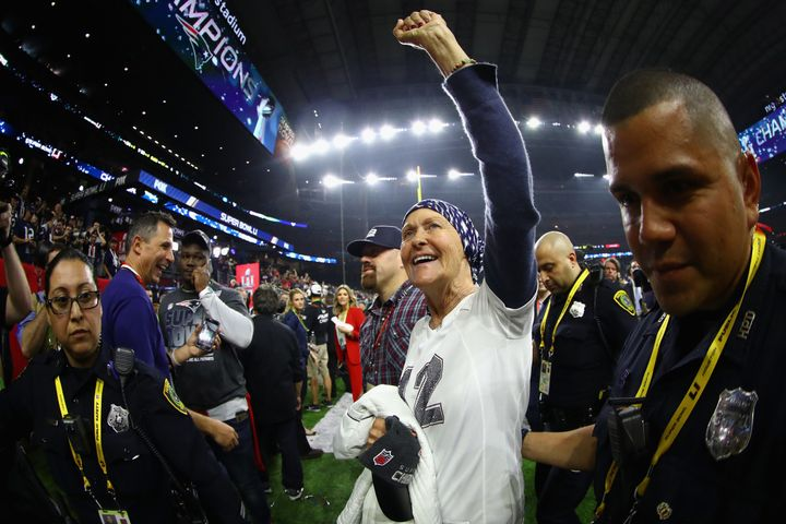 Galynn Brady celebrates after Super Bowl LI at NRG Stadium in Houston.