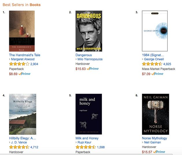 Margaret Atwood's modern classic has nudged Milo Yiannopoulos's Dangerous out of No. 1on
