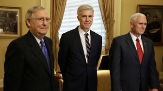 Supreme Court Nominee Judge Neil Gorsuch (C) arrives for a meeting with Senate Majority Leader Mitch McConnell (R-KY) and U.S. Vice President Mike Pence on Capitol Hill in Washington, U.S., February 1, 2017.      REUTERS/Joshua Roberts