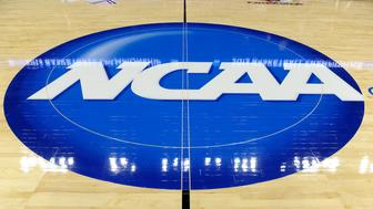 BRIDGEPORT, CT - MARCH 30:  The NCAA logo on the court where the Connecticut Huskies and the Maryland Terrapins play during the East Region Sweet 16 of the NCAA Championship at the Webster Bank Arena at Harbor Yard on March 30, 2013 in Bridgeport, Connecticut.  (Photo by G Fiume/Maryland Terrapins/Getty Images)