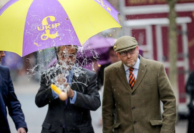 Nigel Farage Gets Pelted With An Egg In