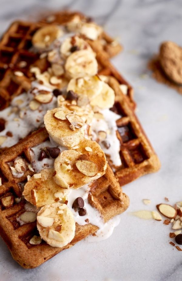 """<strong>Get the <a href=""""http://www.nutritionistinthekitch.com/maca-almond-banana-chocolate-chip-waffles-grain-dairy-free/"""" t"""