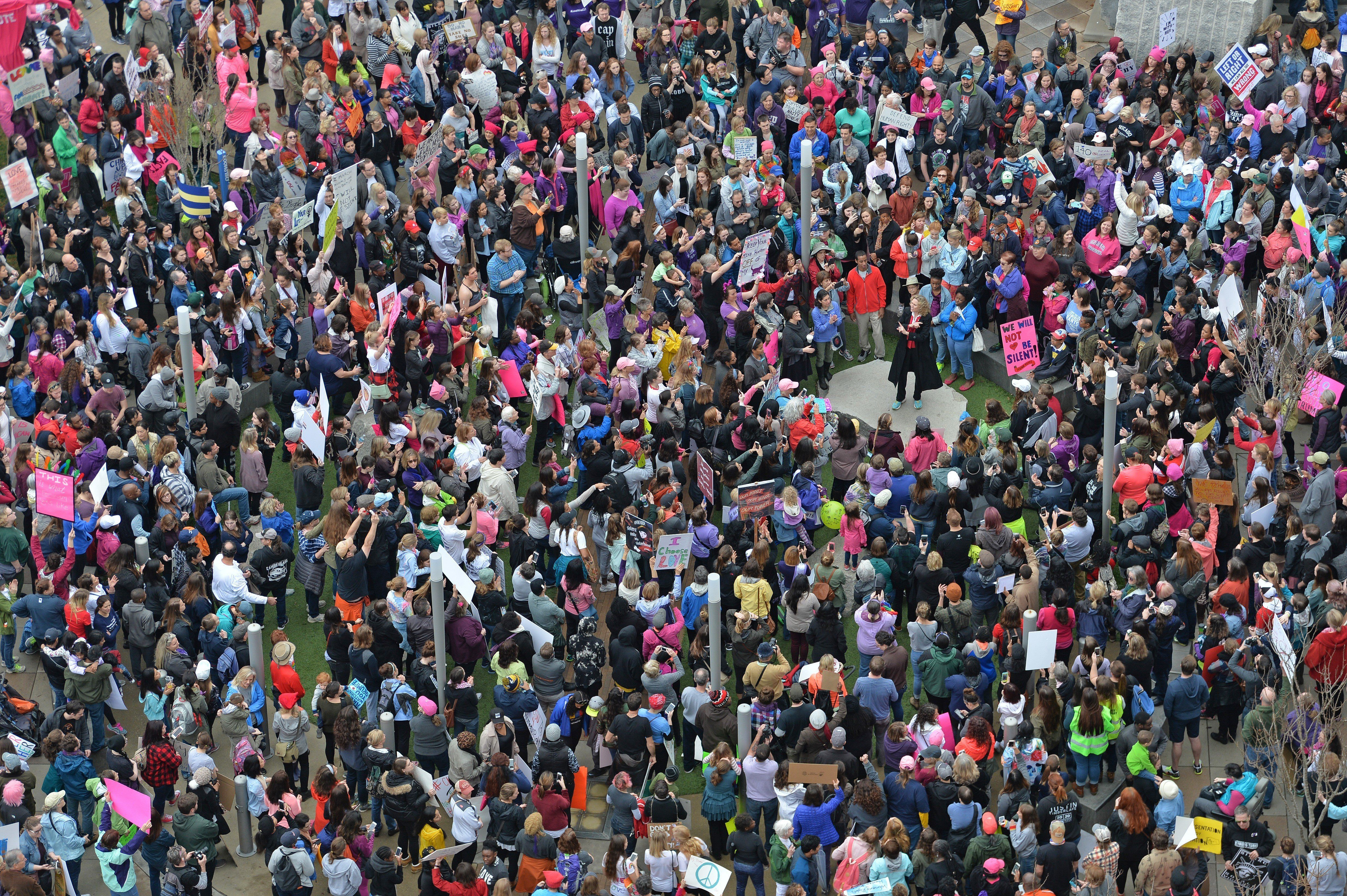CHARLOTTE, UNITED STATES - JANUARY 21: Women's march in Charlotte attended by an estimated 10,000 demonstrators as a sister march to the one in Washington DC while Charlotte mayor Jennifer Roberts speaks, in USA on January 21, 2017. (Photo by Peter Zay/Anadolu Agency/Getty Images)