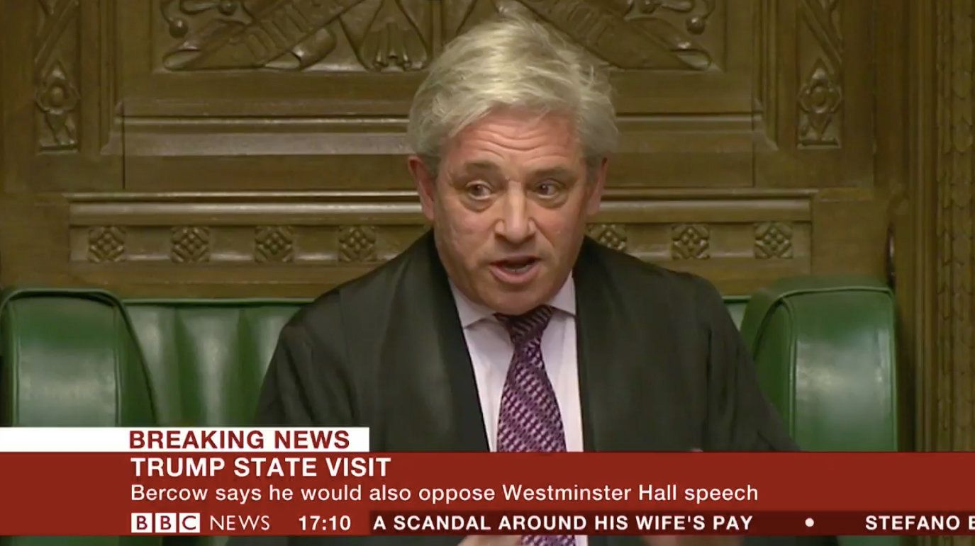 John Bercow says hes strongly opposed to President Donald Trump addressing British Parliament