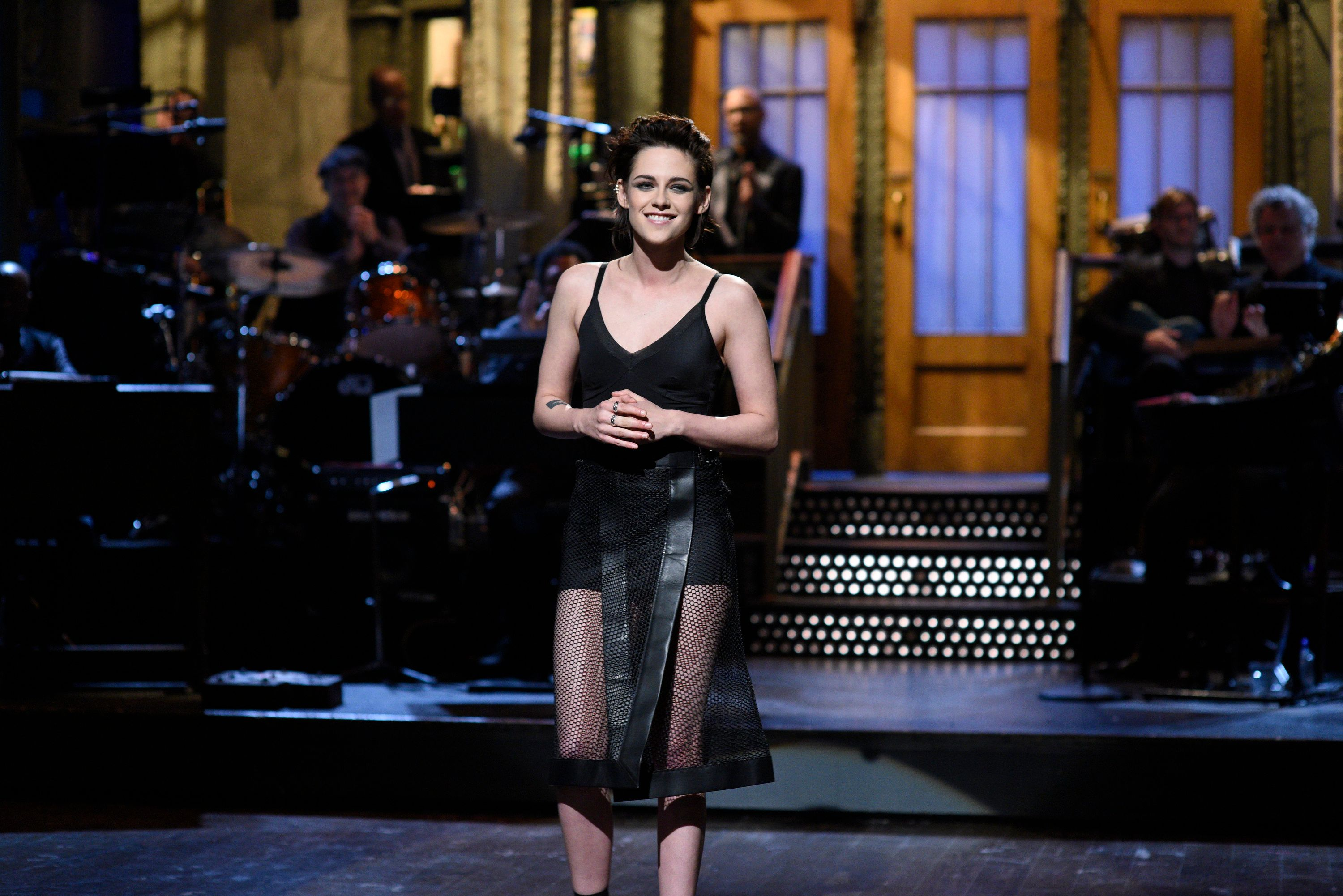 SATURDAY NIGHT LIVE -- 'Kristen Stewart' Episode 1717 -- Pictured: Host Kristen Stewart during the Monologue on February 4th, 2017 -- (Photo by: Will Heath/NBC/NBCU Photo Bank via Getty Images)