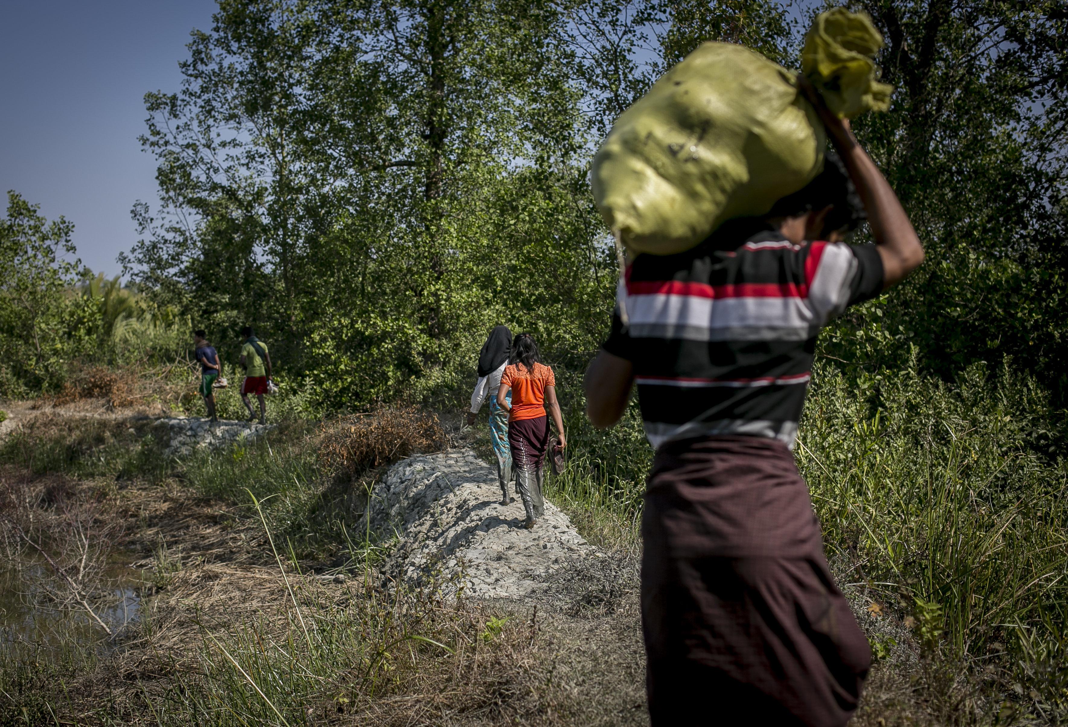 A Rohingya family fleeing from Dekibonia village in Myanmar crosses into Bangladesh on Feb.
