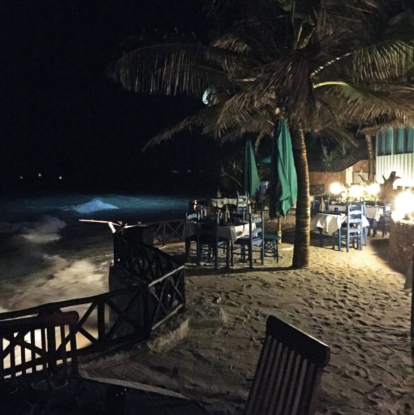 A night scene of an empty resort on Diani Beach in Kenya. Many of the area's resorts were deeply affected by terror attacks i