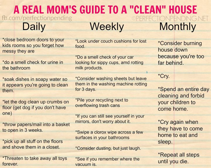 Mom Creates Hilariously Honest Guide To Cleaning Huffpost