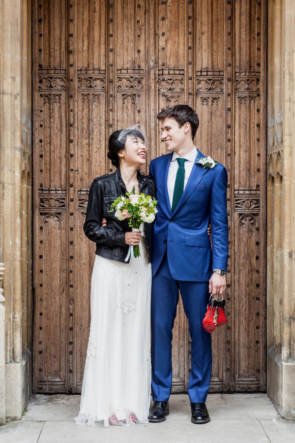 19 Fly As Hell Brides Who Rocked A Leather Jacket With Wedding Dress Huffpost