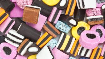 Colourful selection of licorice allsorts sweets