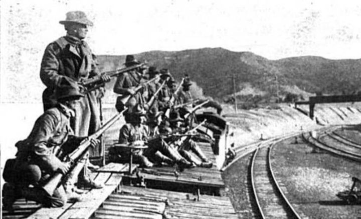 Troops on top of a train car near Ludlow Colorado