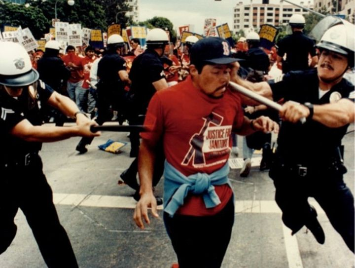 Police beat a striking janitor on the streets of Los Angeles