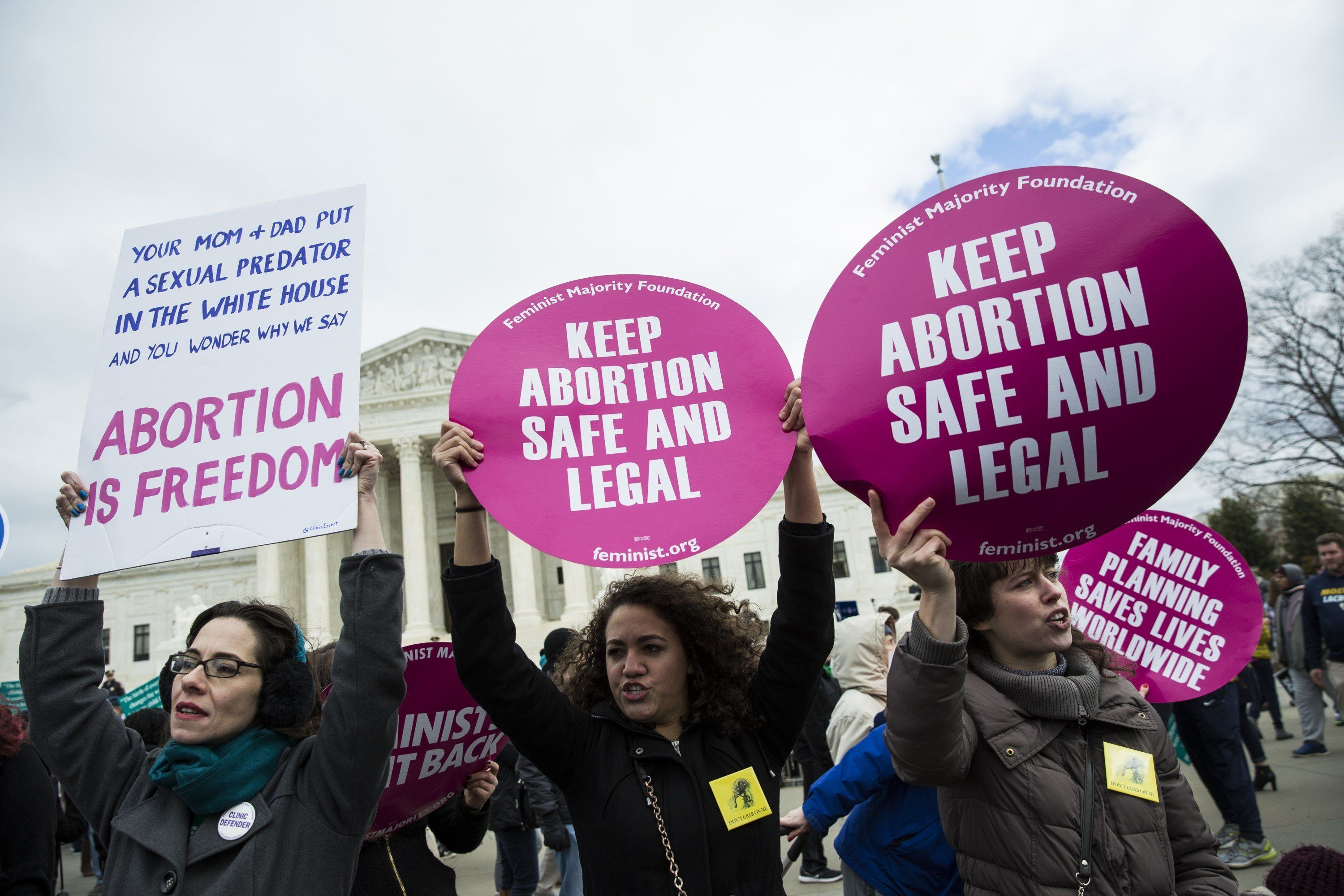 Pro-choice advocates counter protest at the March for Life in Washington D.C. last month.