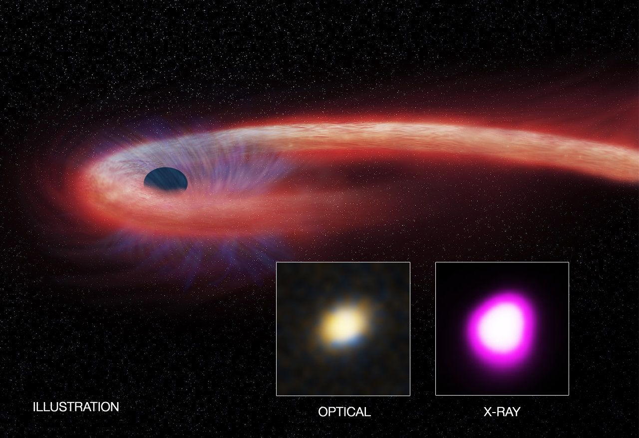 This is an illustration of a black hole consuming a star in a galaxy 18 million miles away