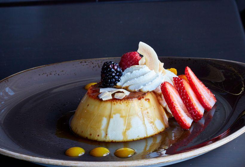 One of Mariposa's flan & fruit desserts.