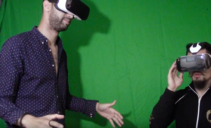 Harrison Schaen (left) and Hayward try out a virtual reality experience