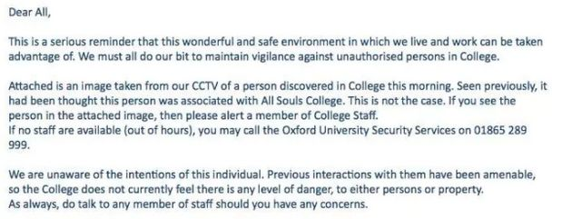 Students were sent an email warning them to be