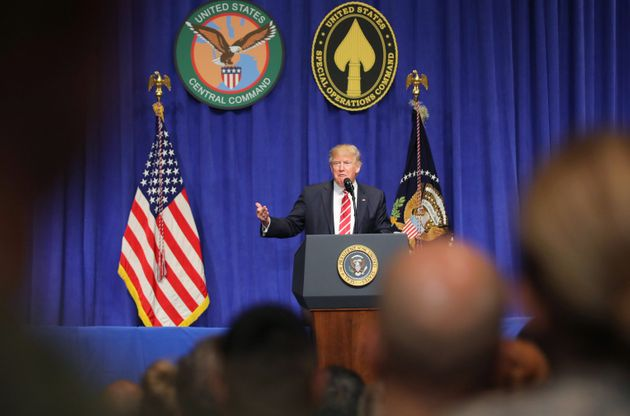Trump speaks during a visit to US Central
