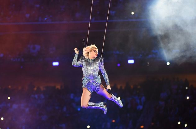 Lady Gaga flew across the stadium during her