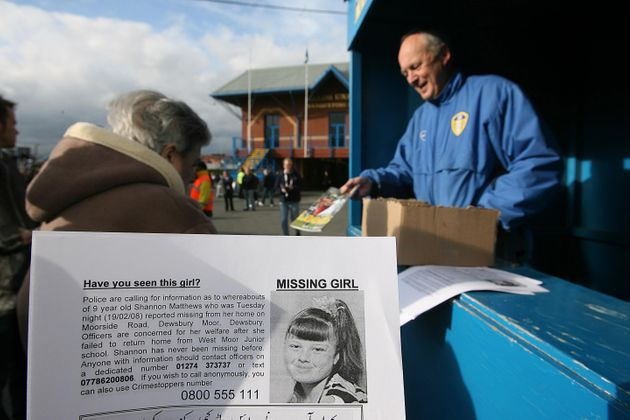 Leaflets appealing for information about Shannon Matthews are distributed at Leeds United's Elland Road...