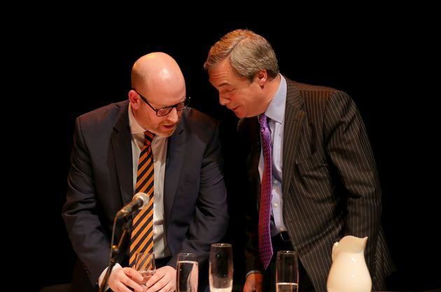 Ukip leader Paul Nuttall and his predecessor Nigel Farage at a public meeting in Stoke on Monday