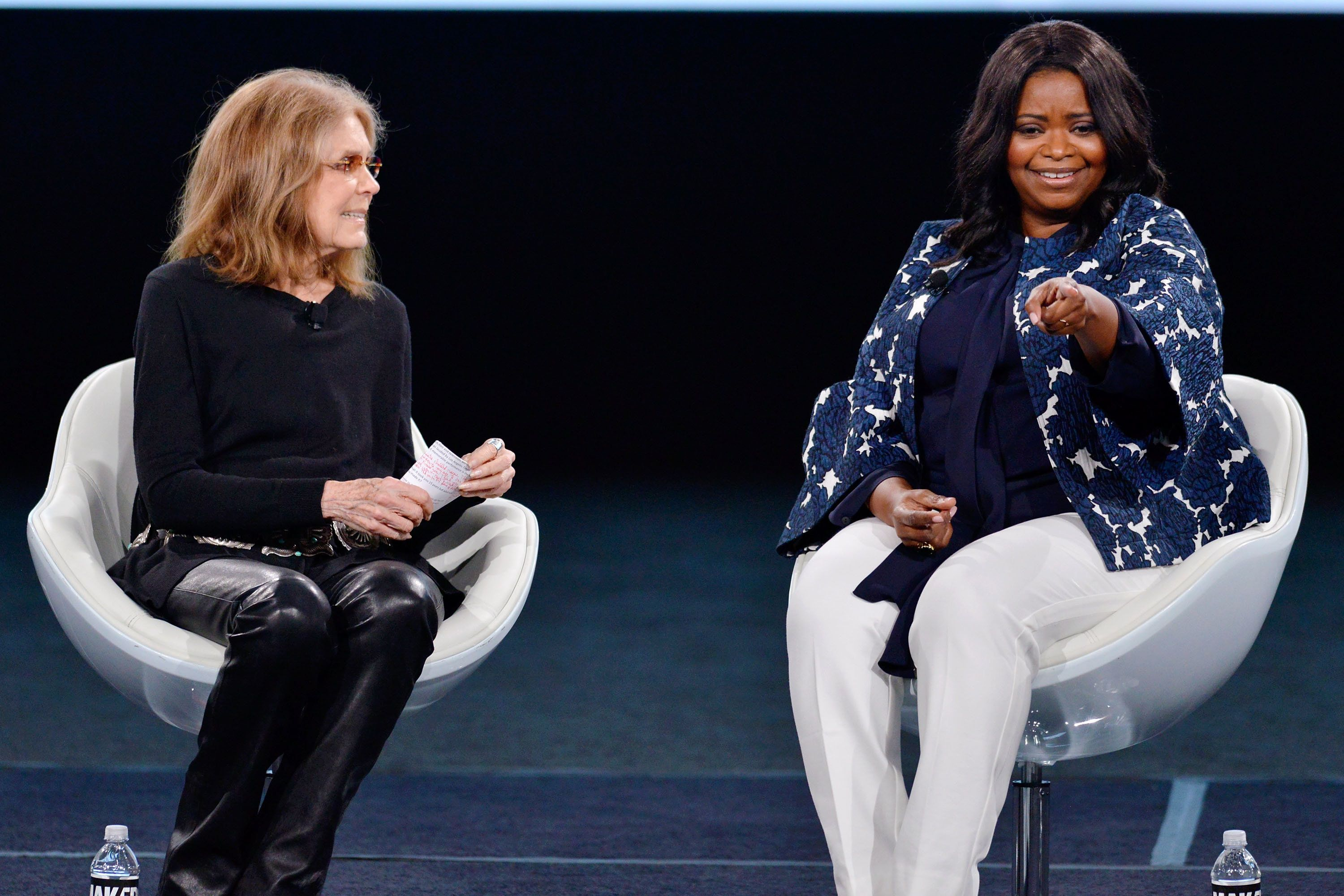 Gloria Steinem and Octavia Spencer on stage at The 2017 MAKERS Conference at Terranea Resort on Feb. 6.