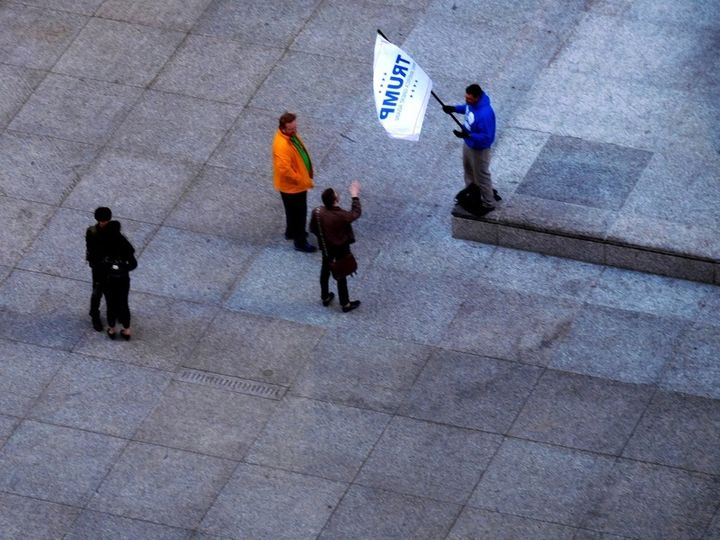 <strong>A lonely Trump fan on Chicago's Daley Plaza in March, 2016, eight months before getting the last laugh.  </strong>