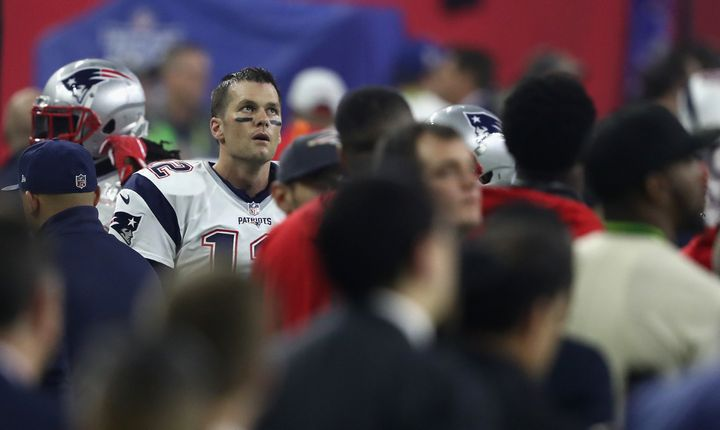 Tom Brady looks on from the sideline during the fourth quarter of Super Bowl 51.