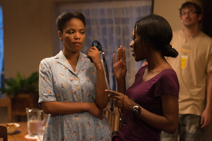 Amma Asanta directs South African actress Terry Pheto in a scene.