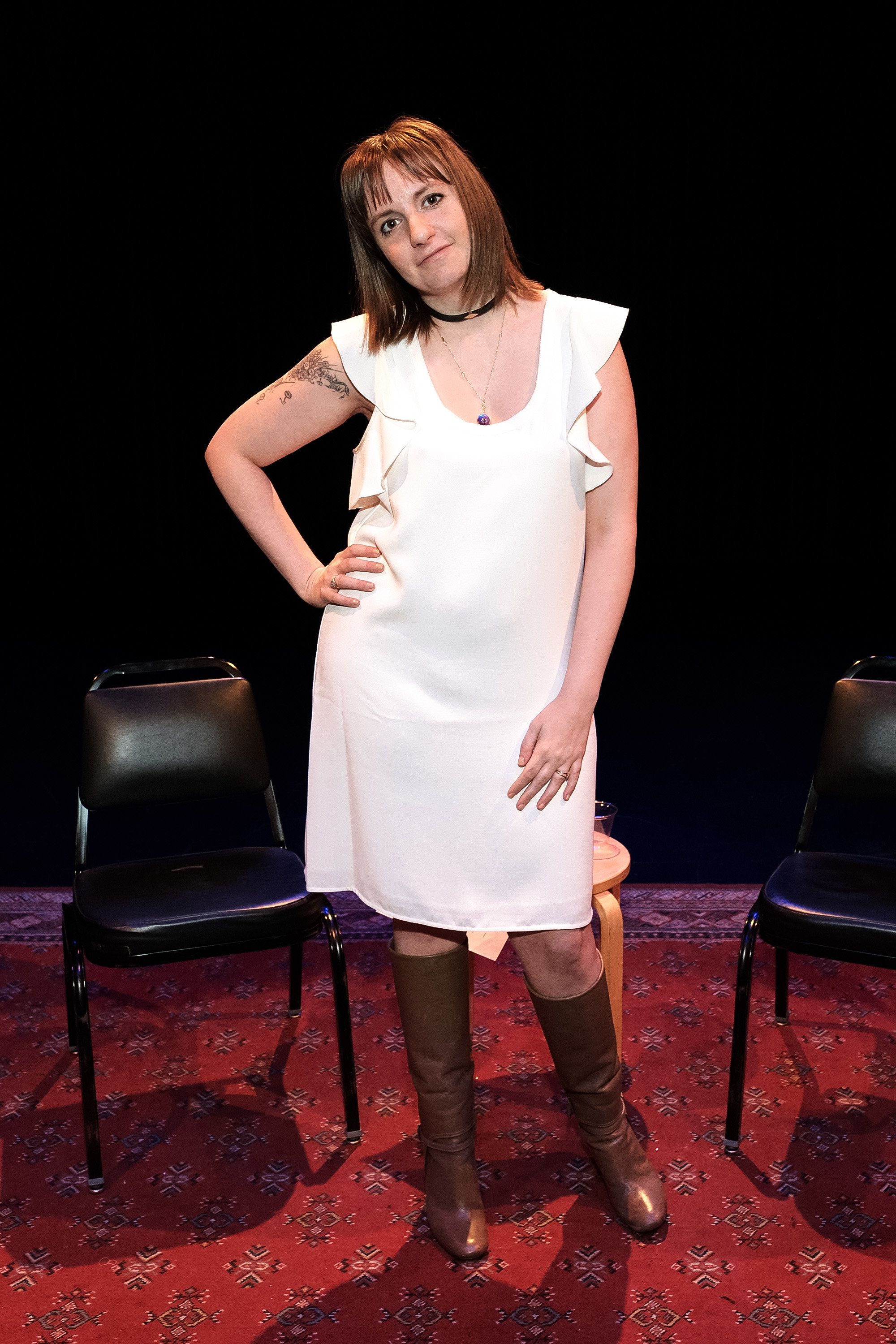 "Dunham onstage before discussing Abbi Jacobson's book ""Carry The Book"" in Oct. 2016."