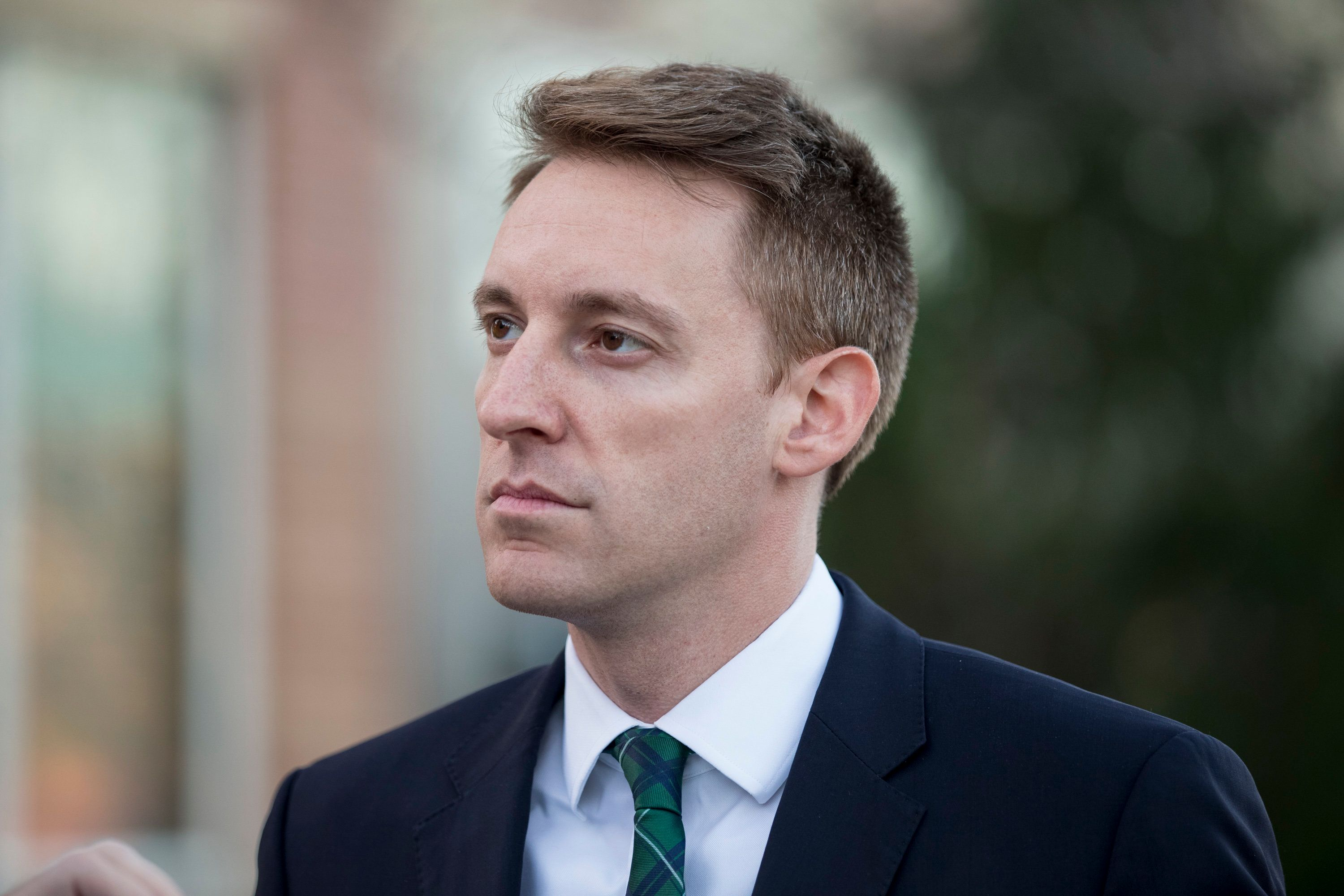 KANSAS CITY, MO - NOVEMBER 08: Democratic candidate for U.S. Senate in Missouri Jason Kander speaks with members of the media on November 8, 2016 outside a polling place in Kansas City, Missouri. Kander is attempting to unseat incumbent Republican Sen. Roy Blunt. (Photo by Whitney Curtis/Getty Images)