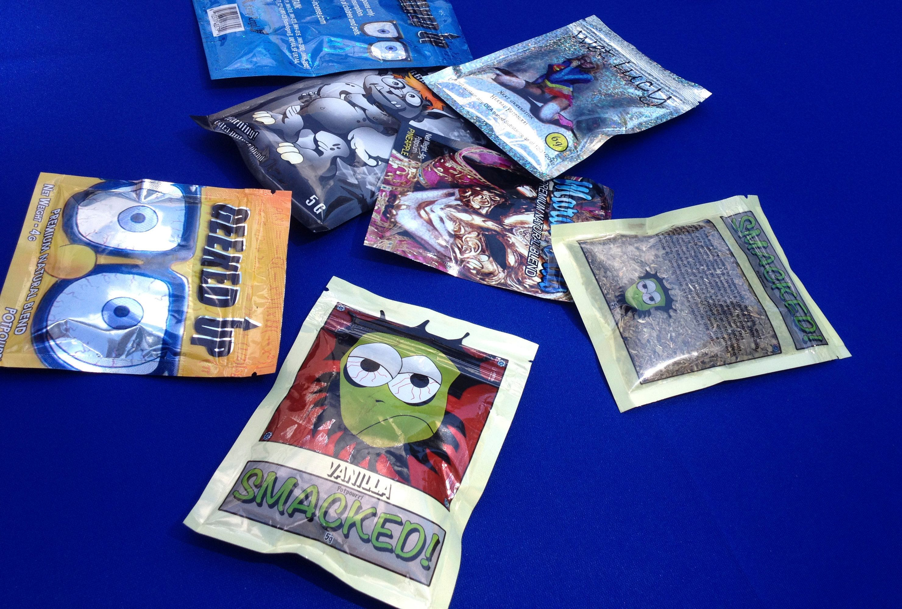 Packets of synthetic marijuana illegally sold in New York City are put on display at a news conference held by New York state