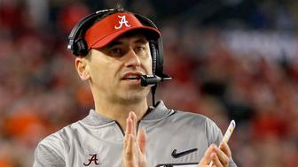 TAMPA, FL - JANUARY 09:  Offensive coordinator Steve Sarkisian of the Alabama Crimson Tide reacts during the second half of the 2017 College Football Playoff National Championship Game against the Clemson Tigers at Raymond James Stadium on January 9, 2017 in Tampa, Florida.  (Photo by Kevin C. Cox/Getty Images)