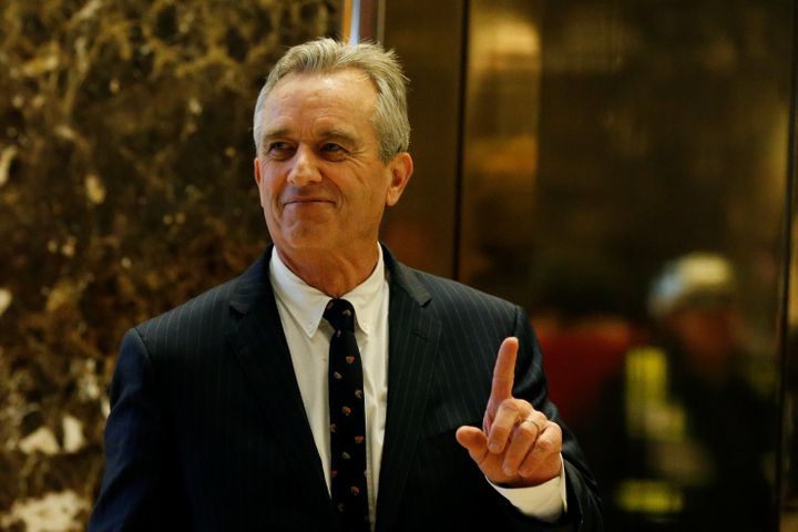 Robert F. Kennedy Jr. gestures while entering the lobby of Trump Tower in New York City on Jan. 10.