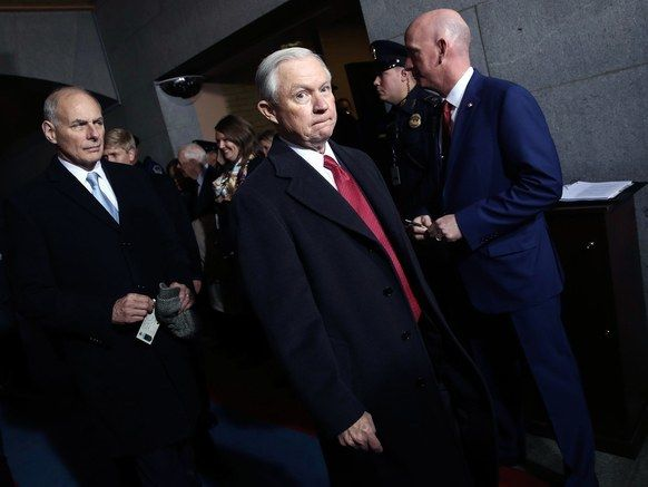 Jeff Sessions arrives at the U.S. Capitol on Friday, January 20, 2017, in Washington, for the inauguration ceremony of Donald