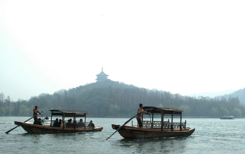 <em>Wooden boats on West Lake</em>