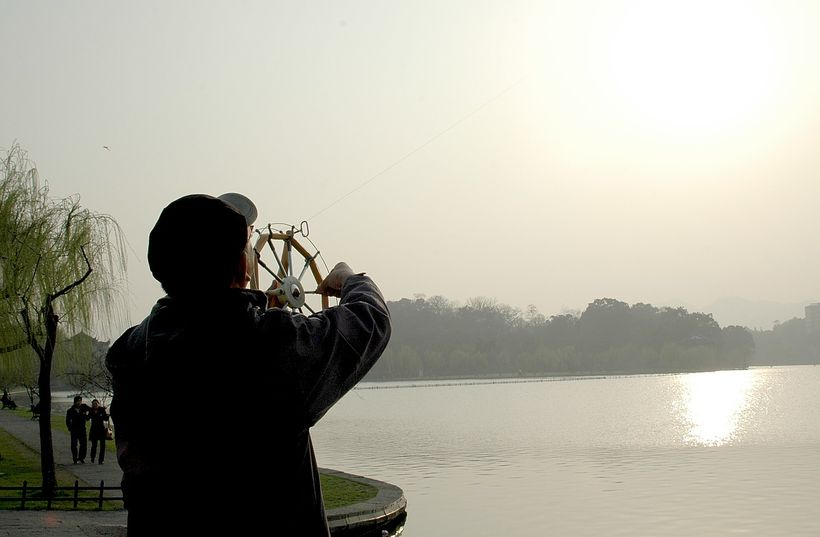 Kite-flying on West Lake, Hangzhou, China