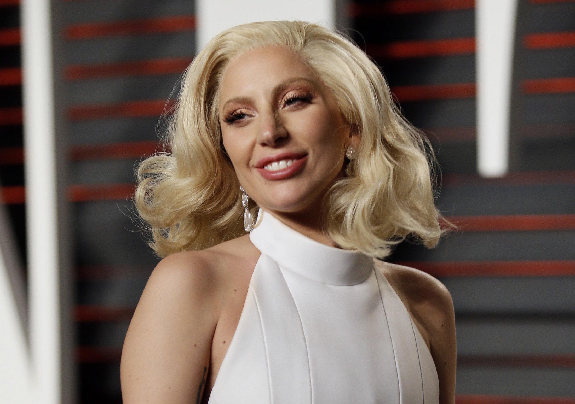 Lady Gaga arrives at the 2016 Vanity Fair Oscar Party.