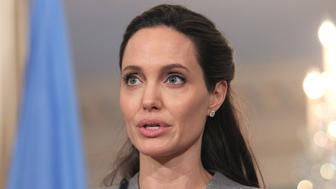 WASHINGTON, DC - JUNE 20:  United Nations High Commissioner for Refugees Special Envoy Angelina Jolie discusses refugees and other issues in honor of World Refugee Day during a visit to the U.S. Department of State on June 20, 2016 in Washington, DC.  (Photo by Paul Morigi/Getty Images)
