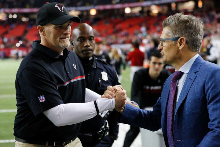 Falcons head coach Dan Quinn (left)and general manager Thomas Dimitroff have to feel great about inking Sarkisian as th