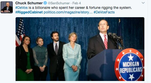 Minutes after confirmation, Senator Schumer tweeted an accusation that DeVos has used her money to rig the system.