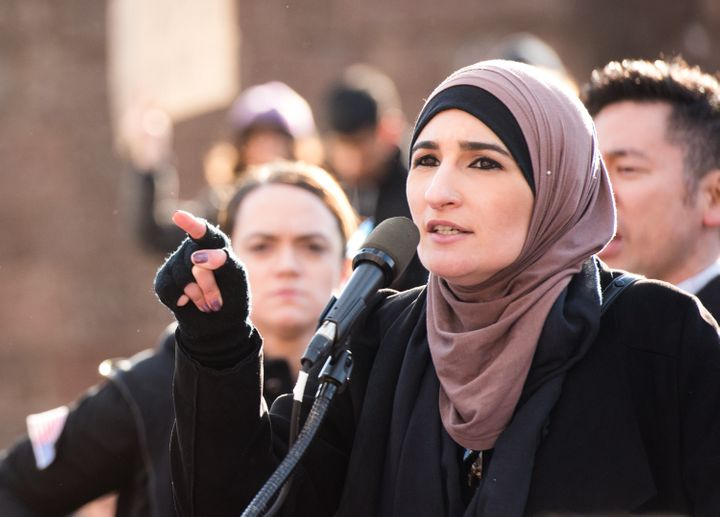 Linda Sarsour at a Jan. 29 rally in New York City to protest Donald Trump's executive order banning refugees and immigra